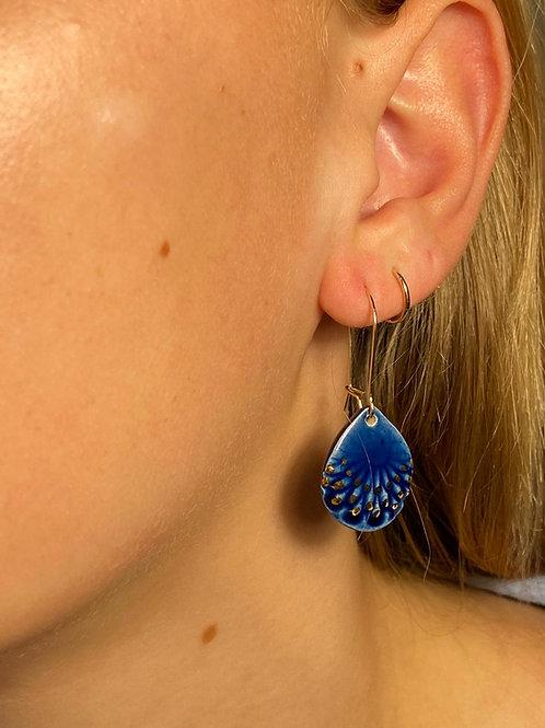 Boucle d oreille bleu et or, motif plume, gold filled