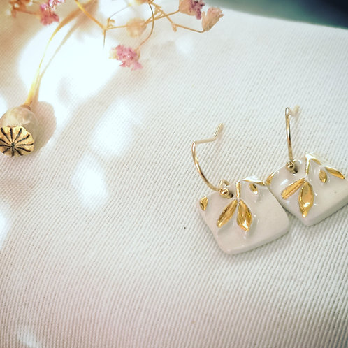 boucle d'oreille blanc et or, gold filled