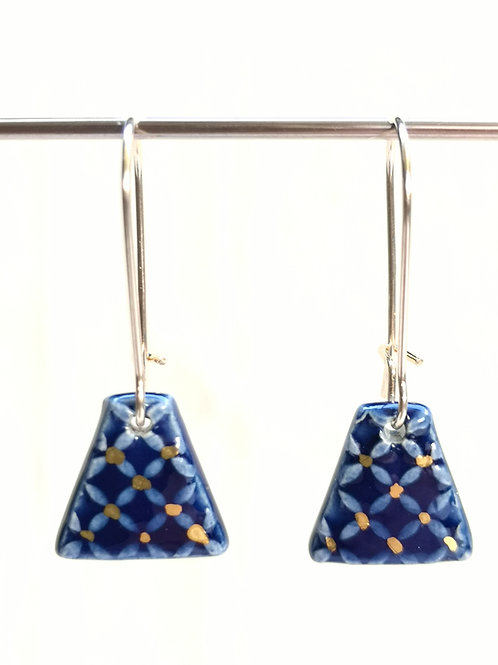 Boucles d'oreilles bleu cobalt, gold filled