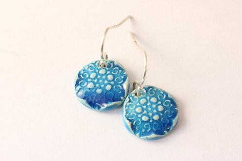 """Boucles d'Oreilles courtes bleues turquoises collection """"constellation"""""""