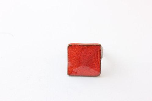Bague rouge marbré