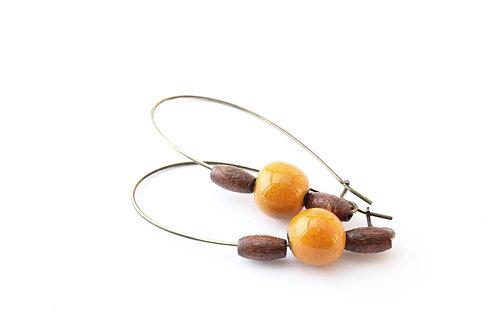 Boucle d'Oreille longue, perles jaune safran