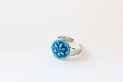 Bague fleur turquoise