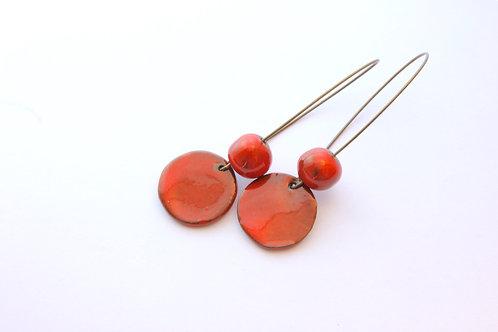 Boucle d'Oreille longue pampille et perle rouge marbré
