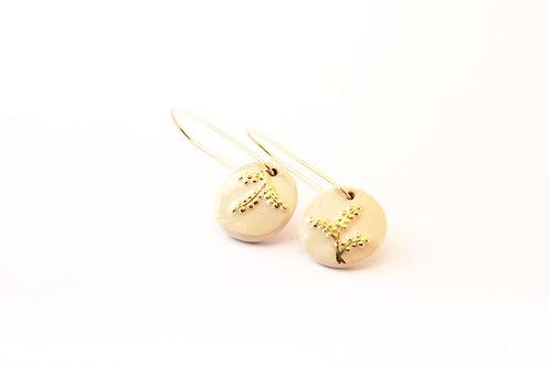 """Boucles d'oreilles Gold filled, crème et or, motif """"graminé"""""""