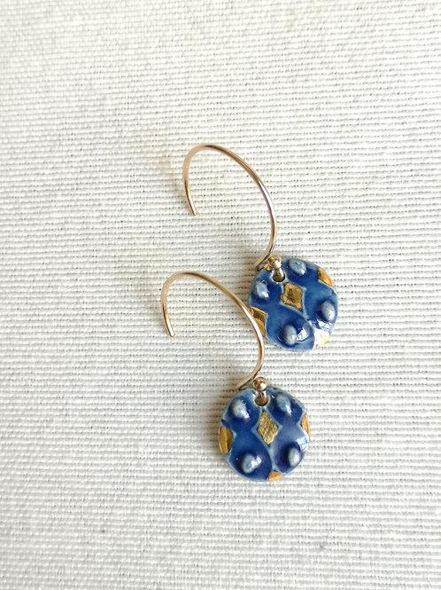 Boucles d'oreilles bleu cobalt courtes, motif arlequin, gold filled
