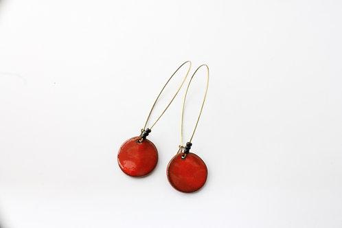 Boucle d'Oreille longue pampille rouge, inspiration ethnique