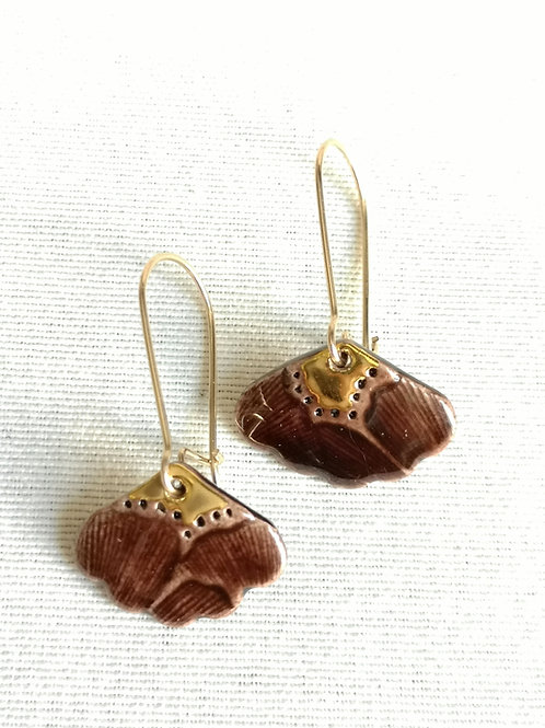 Boucle d oreille chocolat et or, motif Samare, gold filled