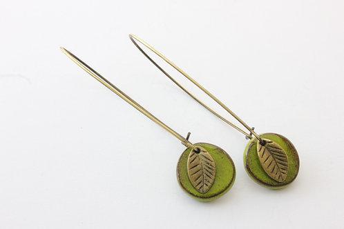 Boucle d'Oreille longue à pampilles vert printemps