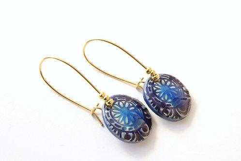 Boucles d'Oreilles courtes bleues turquoises et marines