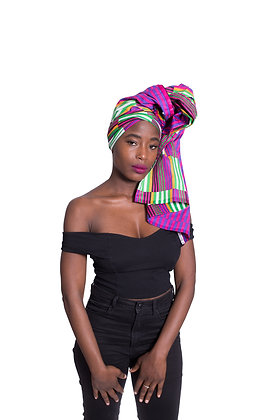 African Print Head Wrap - MULTI-F