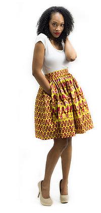 Traci Ankara Knee-Length Skirt