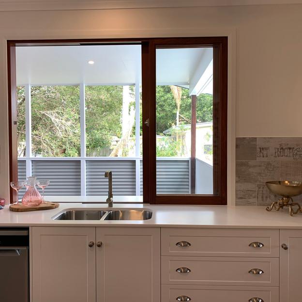 Kitchen view onto deck