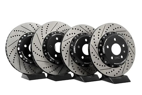 ECS Front and Rear Cross-Drilled & Slotted 2-Piece Brake Rotor Kit