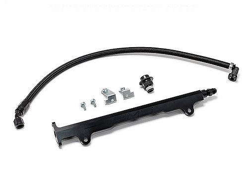 AMS Performance Evo X Black CNC Fuel Rail w/ -06 AN Feed Line & Pulsation Damper