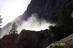 Mist at base of Wapama Falls