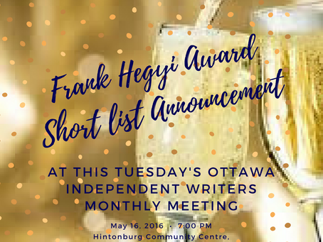 Frank Hegyi Award Short List Announcement