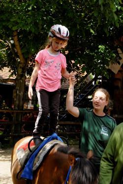 Stehen auf dem Pferd