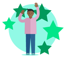 A happy man celebrating, surrounded by green stars