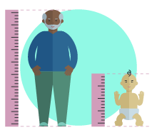 An old man and a baby patient being measured