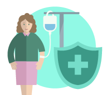 A female patient receiving medicine from an IV drip behind a protective shield