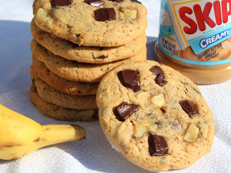 Les Cookies à l'Américaine, peanuts butter, banane et chocolat noir