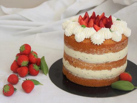 Layers cake fraise, citron et basilic