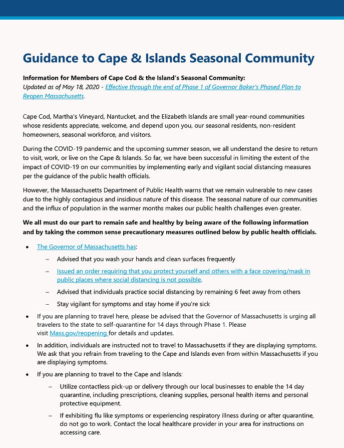 Information for Members of Cape Cod & Is