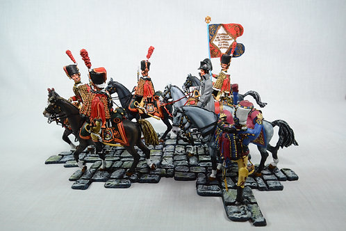 Six-piece mounted Chasseurs A Cheval on interlocking bases
