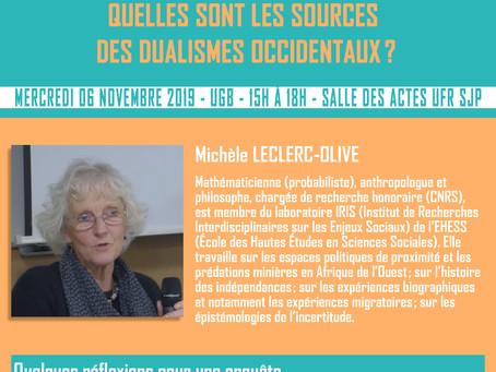 QUELLES SONT LES SOURCES DES DUALISMES OCCIDENTAUX (SEMINAIRE)