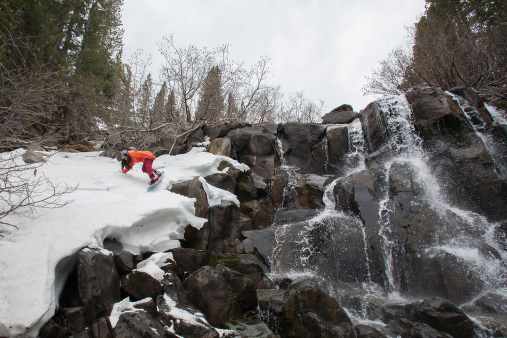 Carving by a Waterfall in Mammoth Lakes