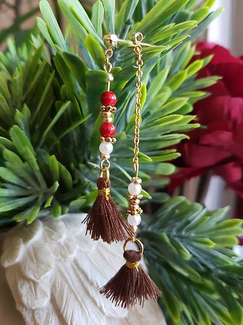 Double Long Red Small Beads