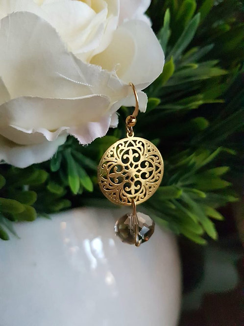 Gold Round Brown Crystal