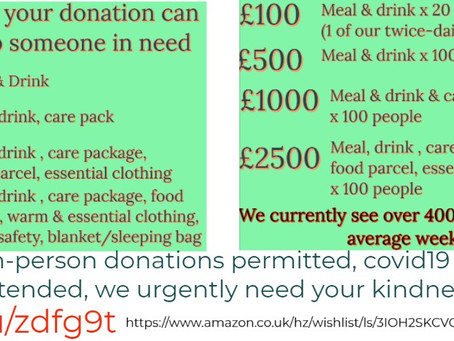 Urgent needs with extended Covid19 lockdown and no donations in person, please read & share