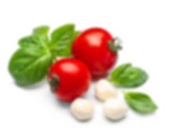 tomat, basilika och mozzarella