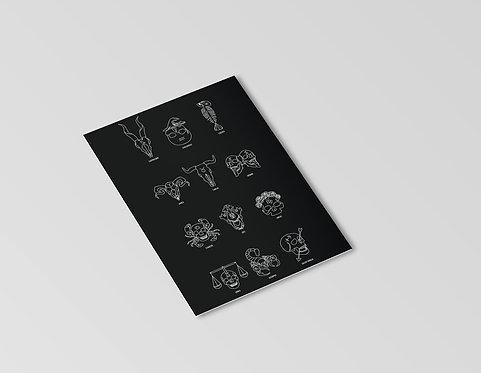 Zodiac Skulls Mini Print