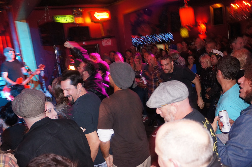 Mosh pit for The Pagans at Alex's Bar