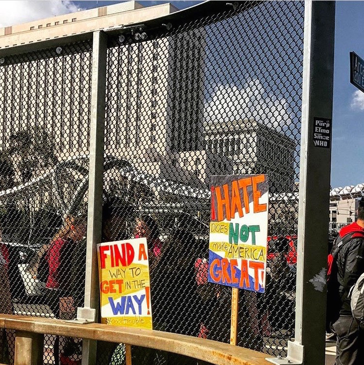 Women's March LA protest signs on freeway