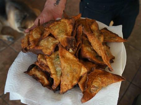 Fried Bok Choy Wontons