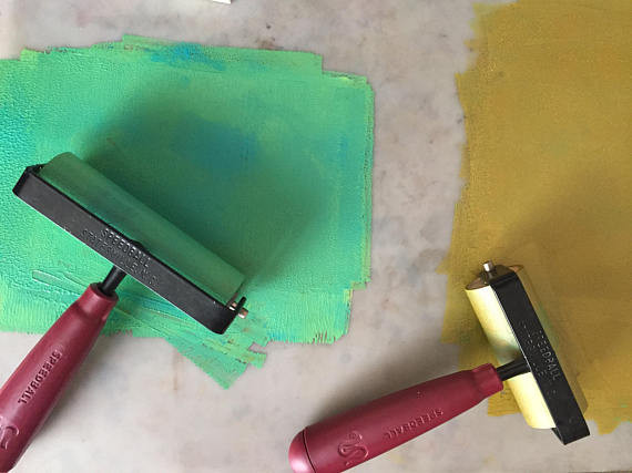 Linocut Rollers with paint