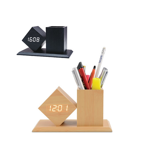 WOODEN CLOCK WITH PEN POT STYLE - 1