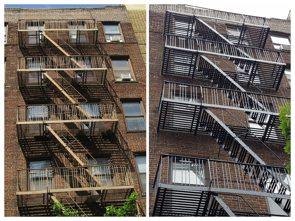 Before and after pictures of exterior fire escape painting service