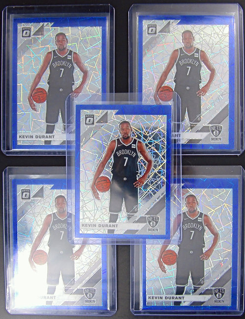 2019-20 Optic Kevin Durant 5 Card Lot of Blue Velocity Prizm's