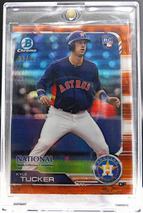 2019 Bowman Chrome National Convention RC Kyle Tucker Orange Refractor #'d /25