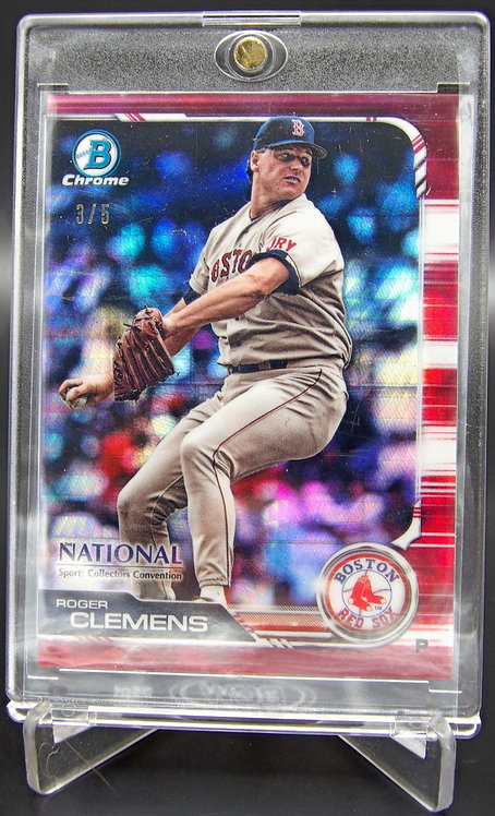 2019 Bowman Chrome National Roger Clemens Red Refractor #'d /5