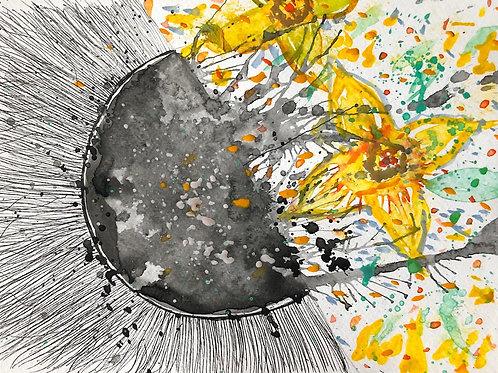 Yellow flowers by Mona Moon Art Print figurative Original watercolour