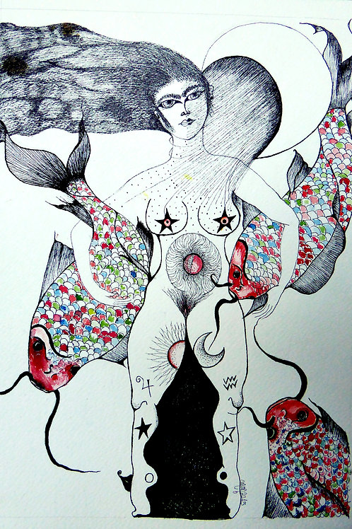 Fishes by Mona Moon Art Print figurative Original pen on paper