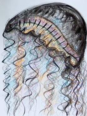 Jelly fish by Mona Moon Art Print abstract Original watercolour