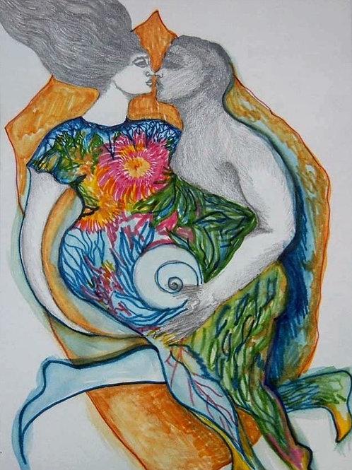 Kiss by Mona Moon Art Print figurative  Original watercolour