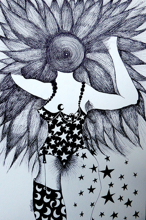 In the sky  by Mona Moon Art Print figurative Original pen on paper